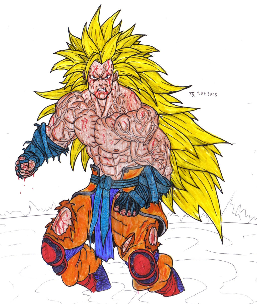 Goku Ssj 3 Color by Bender18 on DeviantArt