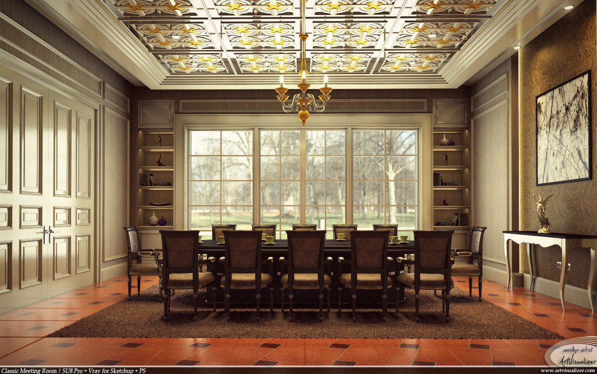 Classic meeting room vray for sketchup by teknikarsitek for Classic hotel design