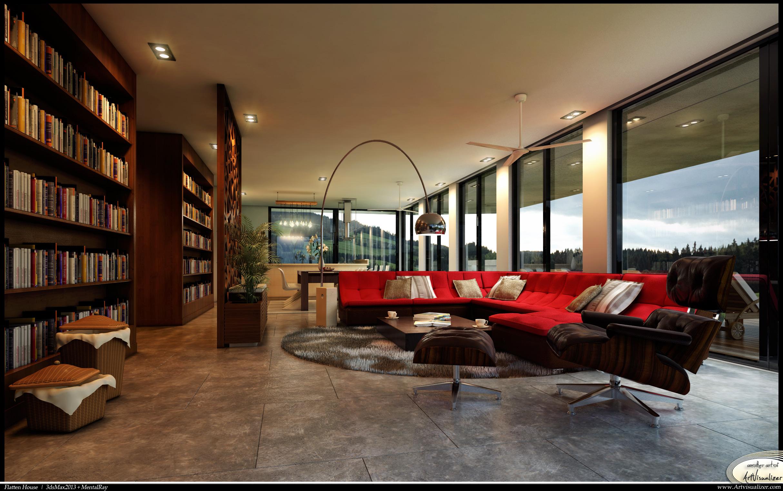 Flatten House - Living Interior by teknikarsitek