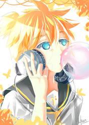 Kagamine Len with bubblegum