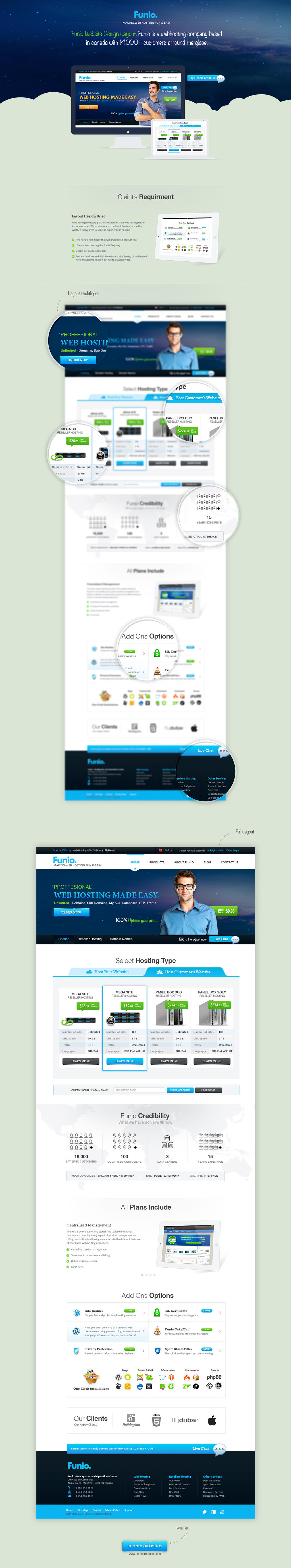 Funio Web Hosting - Website Layout Design by themerboy
