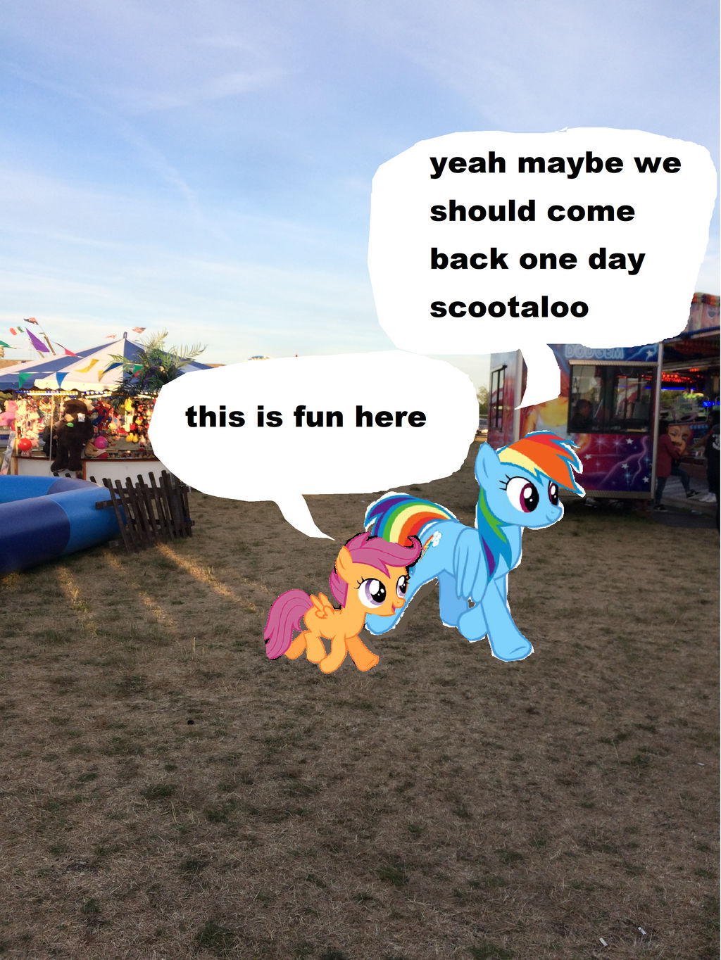 Rainbow Dash And Scootaloo Are At The Funfair By Yungdeez On Deviantart Although the visual juxtaposition of seeing hulk,optimus and godzilla interacting with the ponies would be compelling. deviantart