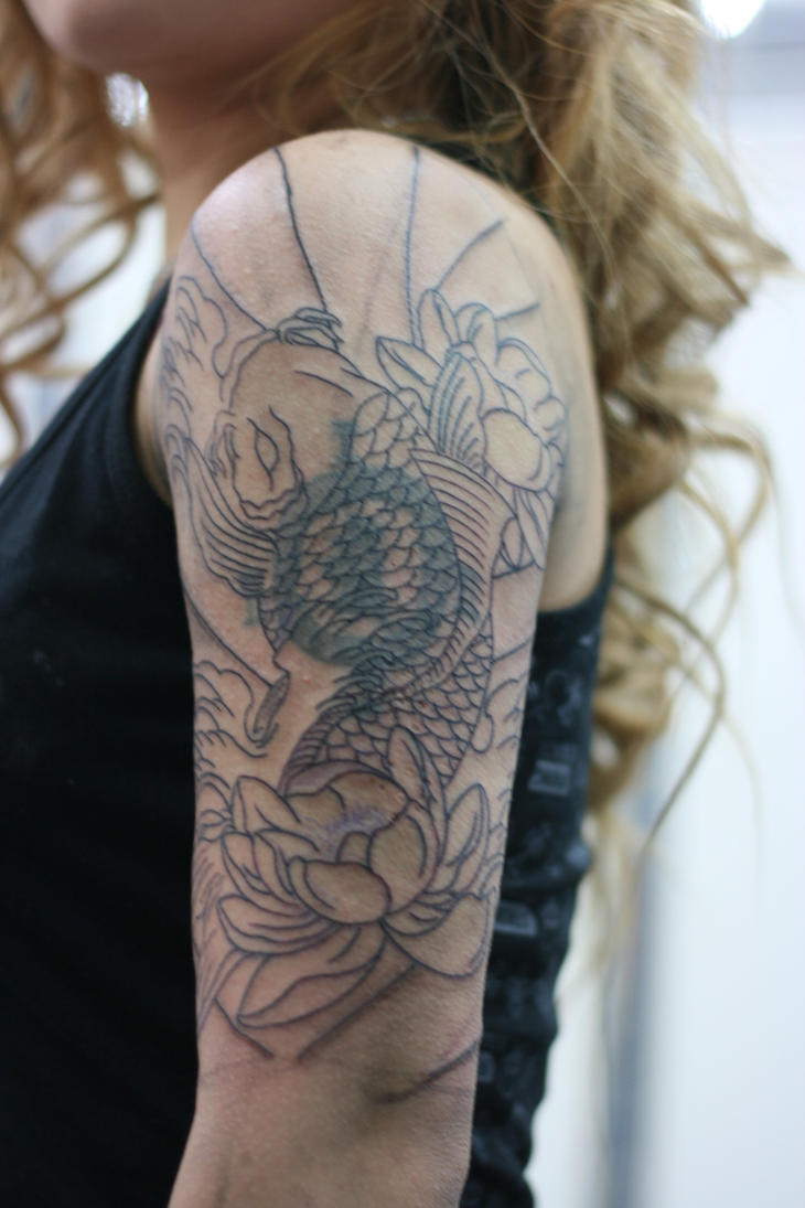 Yuki 39 s half sleeve coverup 1 by lucky cat tattoo on deviantart for Solid black tattoo cover up