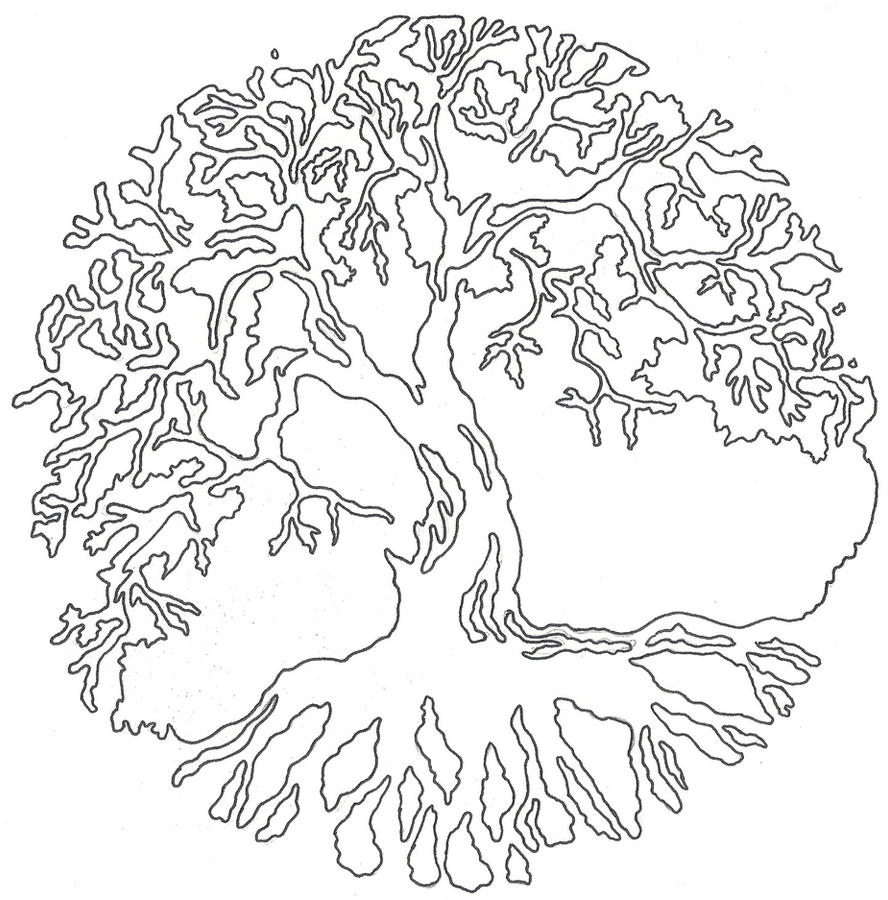 Line Drawing Tree Tattoo : Tree of life linework by lucky cat tattoo on deviantart