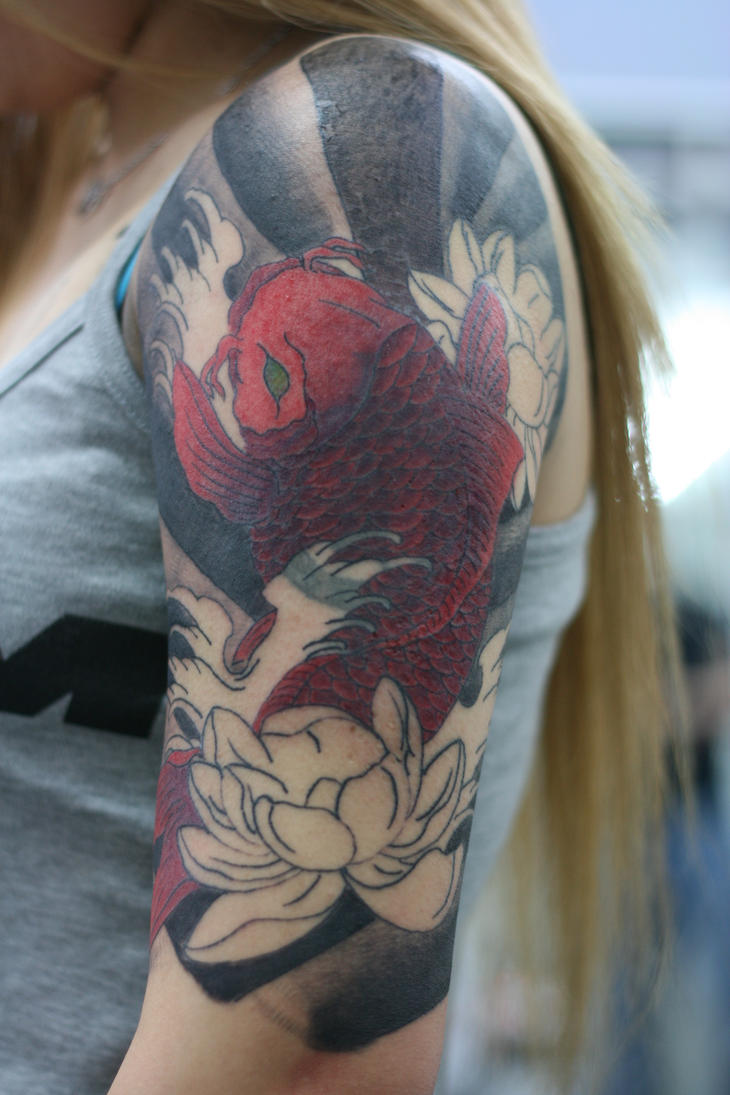 Yuki 39 s half sleeve coverup 2 by lucky cat tattoo on deviantart for Tattoo sleeve cover ups