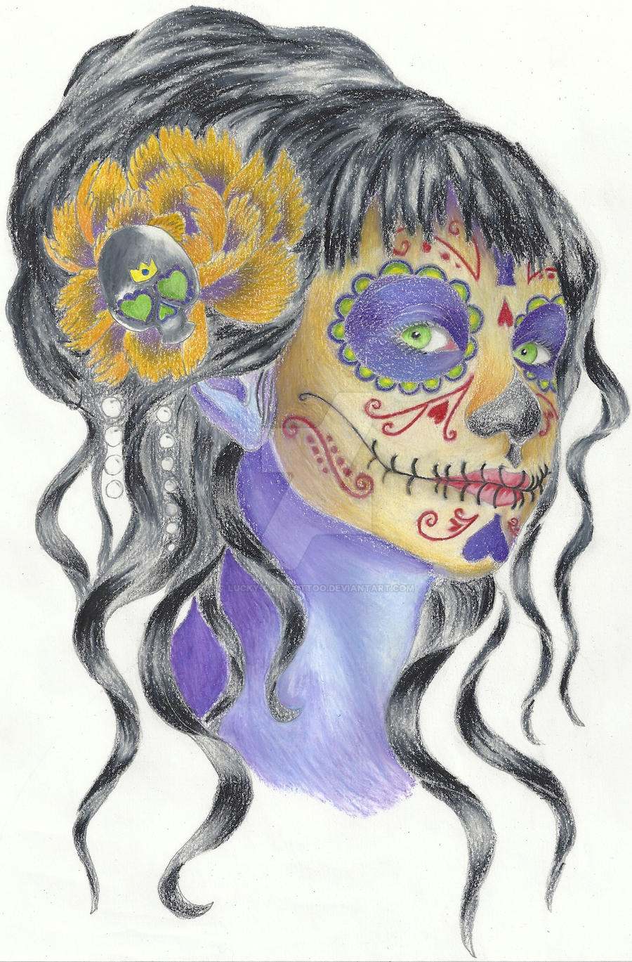 Day Of The Dead Finished By Lucky Cat Tattoo On Deviantart