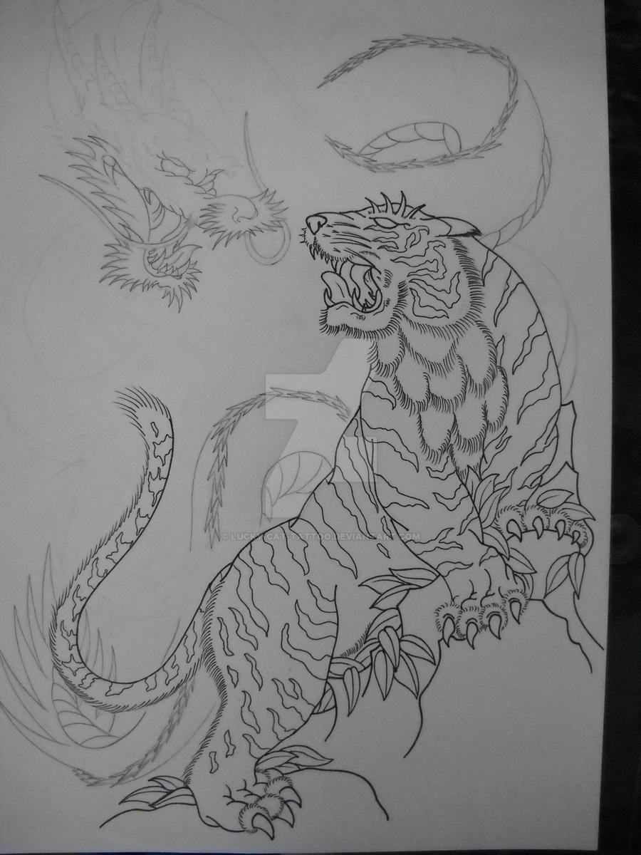de21968d6 Dragon vs Tiger WIP1 by Lucky-Cat-Tattoo on DeviantArt