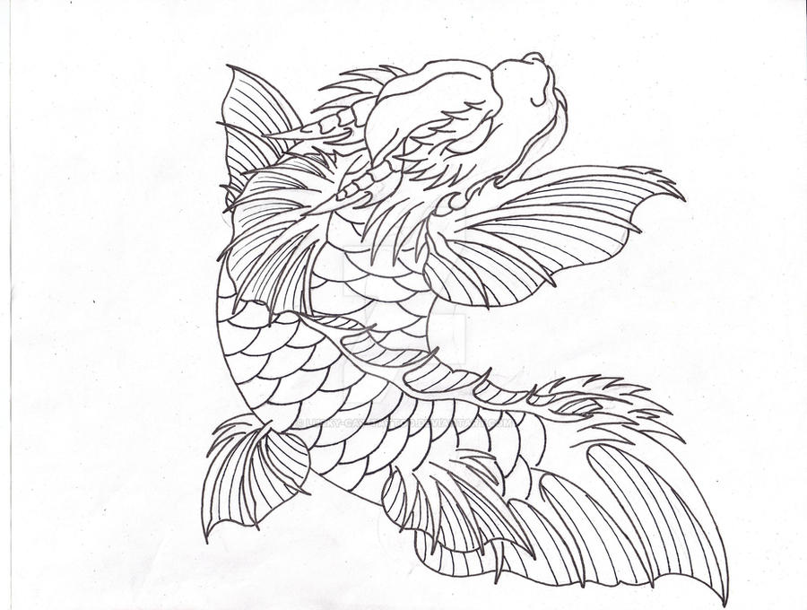 Falcor the koi dragon linework by lucky cat tattoo on for Black dragon koi