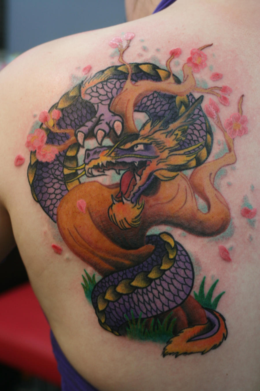 Heather's Dragon and Tree by Lucky-Cat-Tattoo