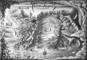 Terra Aluvis - Old Illustrated Map (english) by Van-Syl-Production