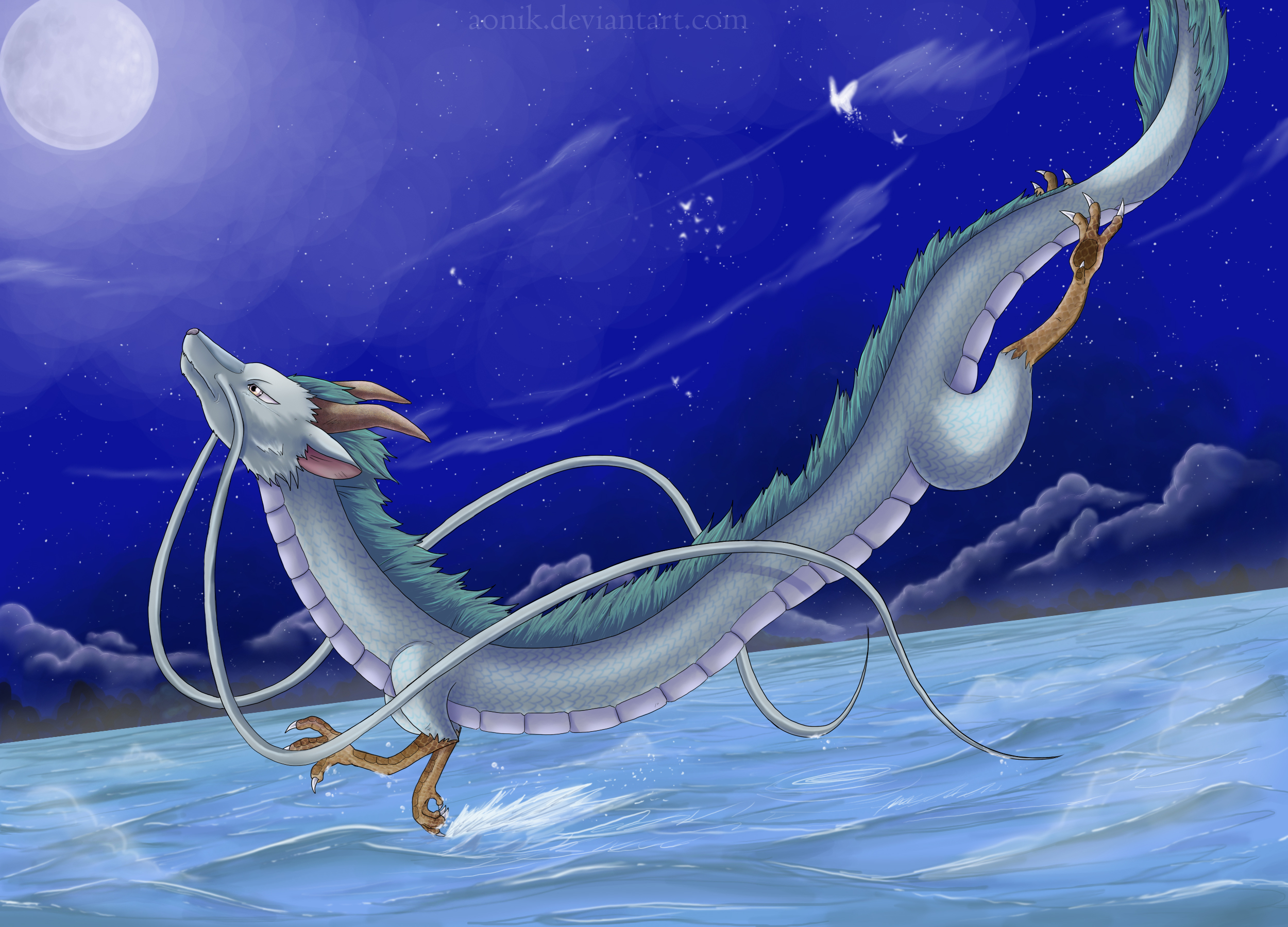 Spirited Away Haku Dragon Form Flying