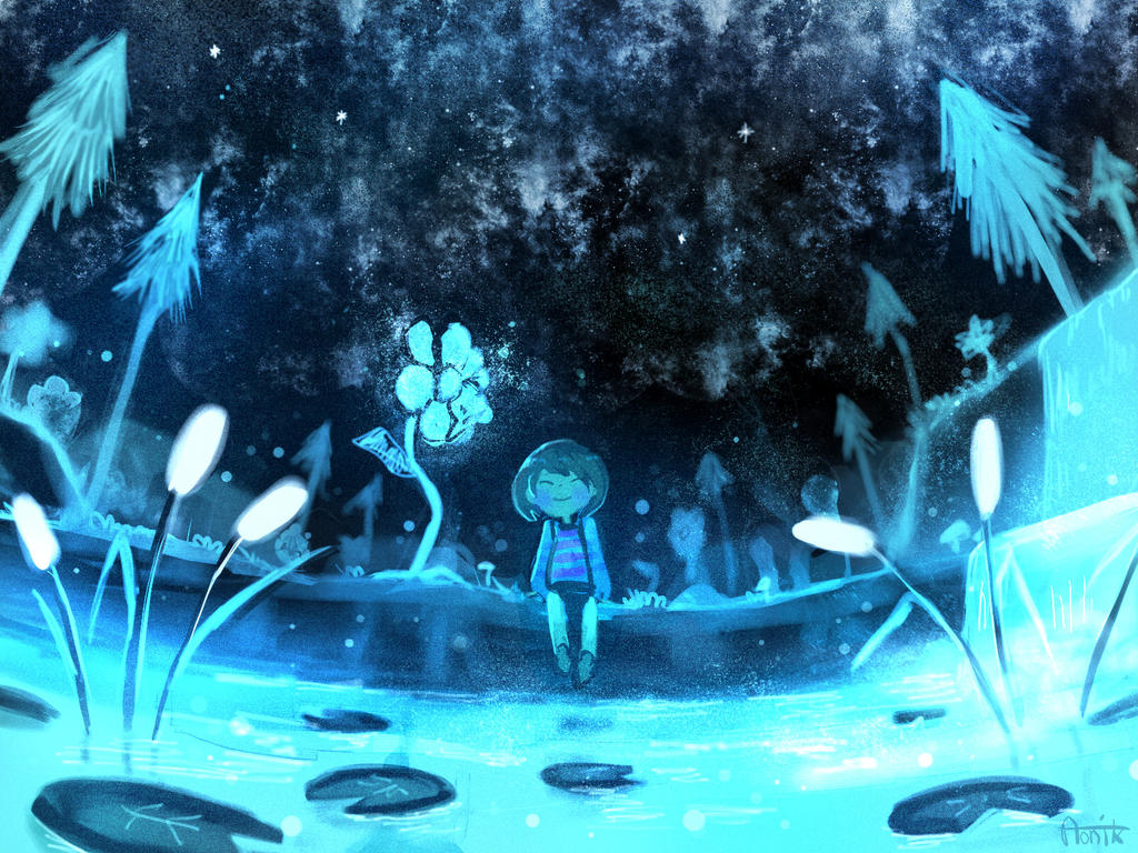 undertale frisk in waterfall - photo #12