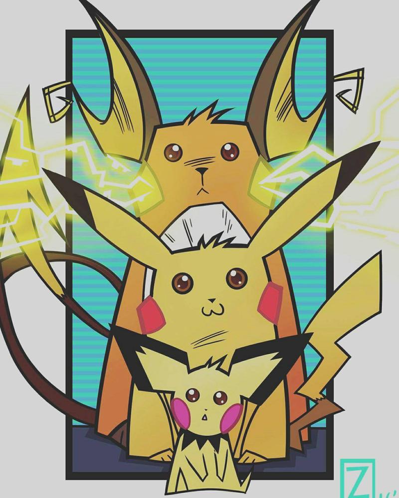 pikachu evolution print by equalizer100
