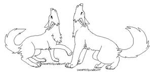 howling wolf couple lineart