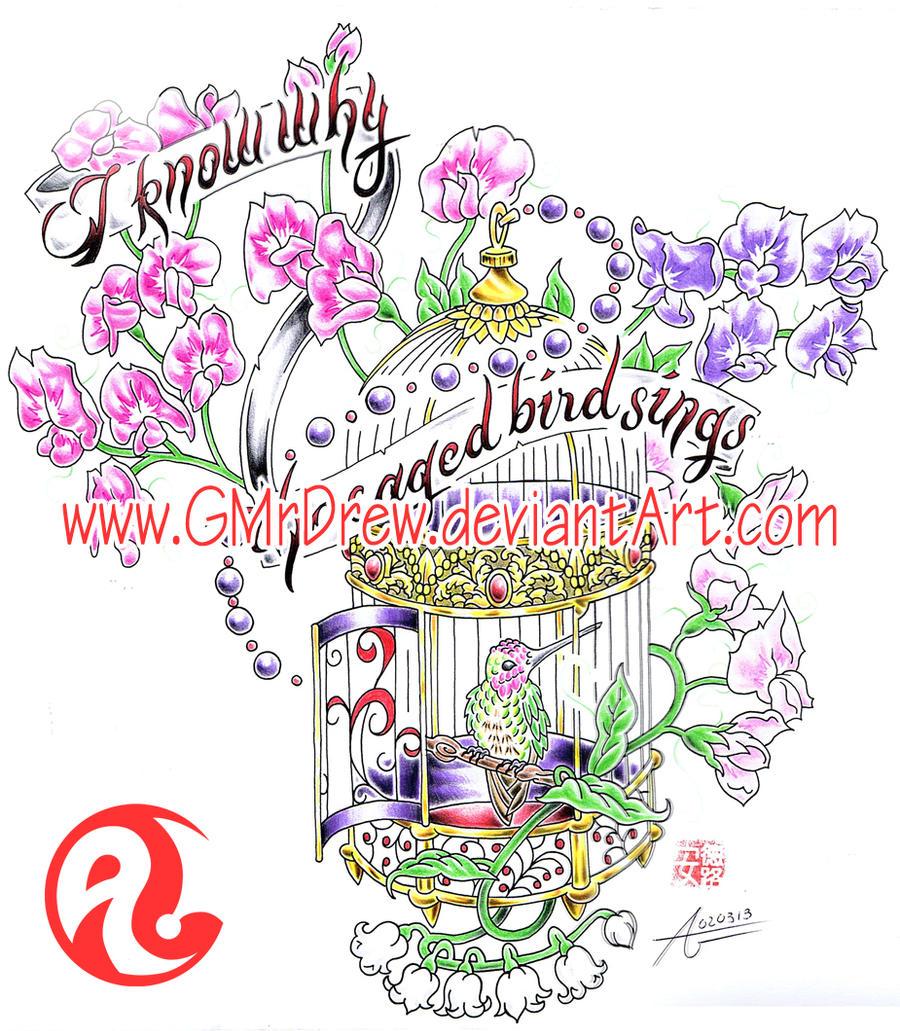 sweetpea hummingbirdcage tattoo design by gmrdrew on deviantart. Black Bedroom Furniture Sets. Home Design Ideas