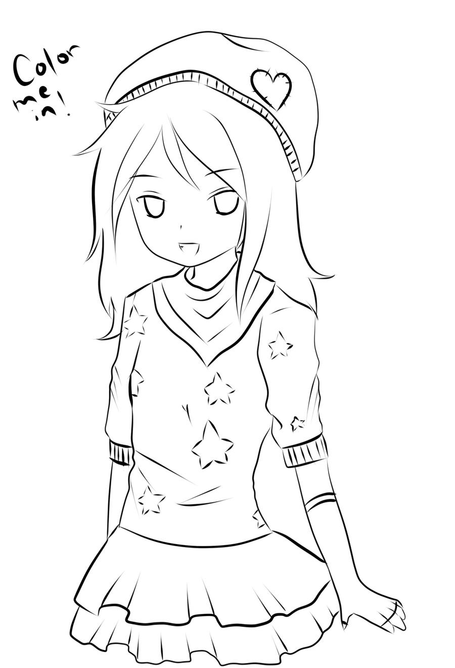 Anime girl coloring page by creampuffchan on DeviantArt