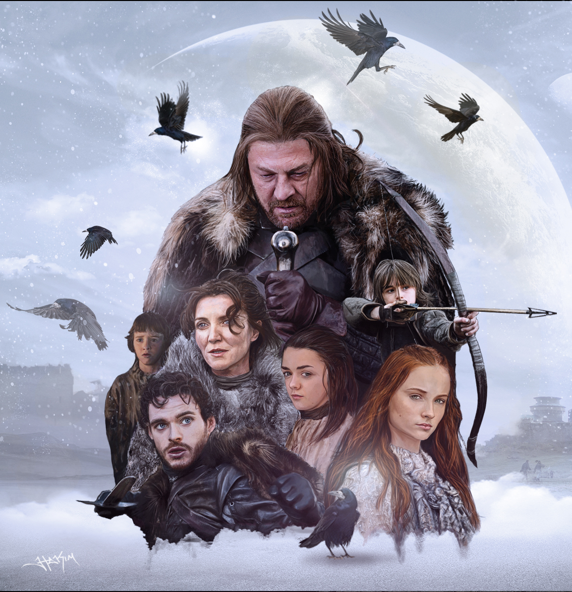 Game of Thrones: House Stark Painting by Hax09
