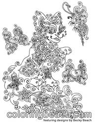 Printable Swirly Kitty Coloring Page