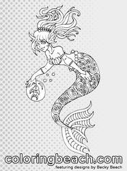 Printable Swirly Mermaid Coloring Page