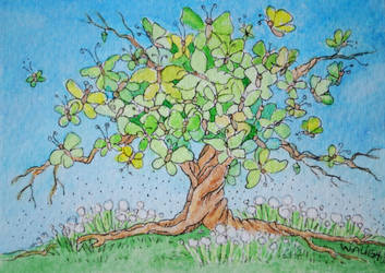 ATC The Butterfly Tree by waughtercolors