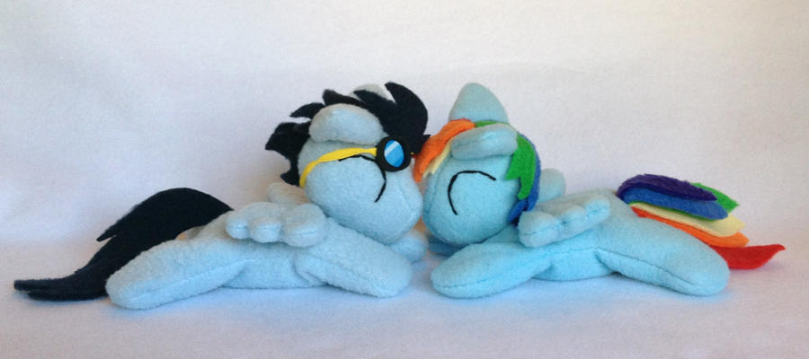 Soarin and Dashie beanie plushies by Bewareofkitty