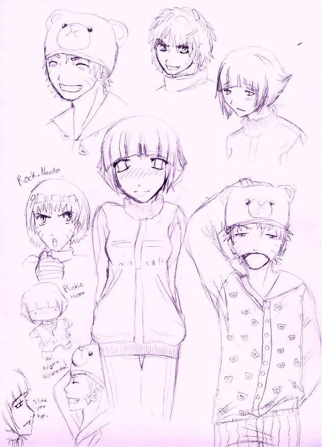 naruto and hinata doodles by shampoo