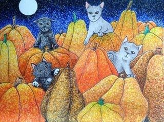 Cats and Pumpkins by chriskilue