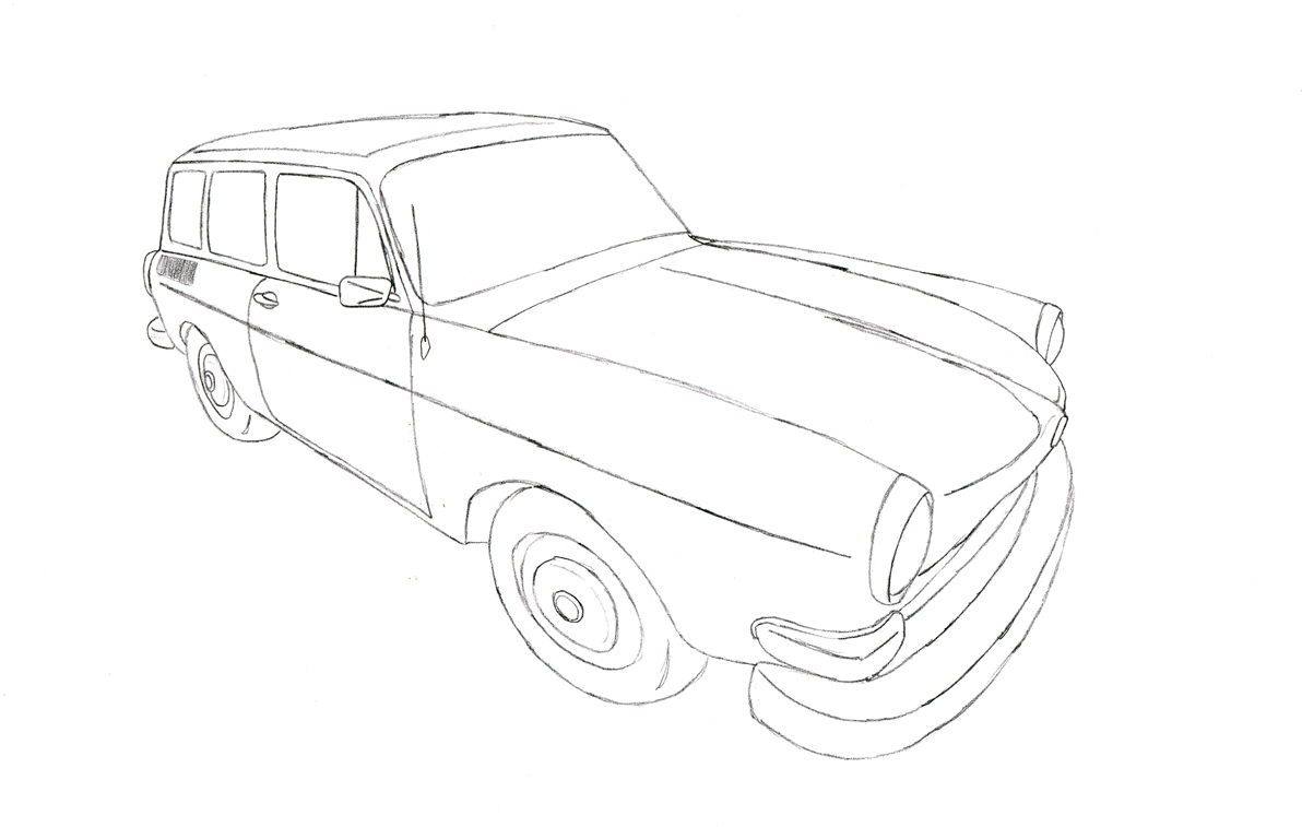 vw type 3 squareback line art by muzz