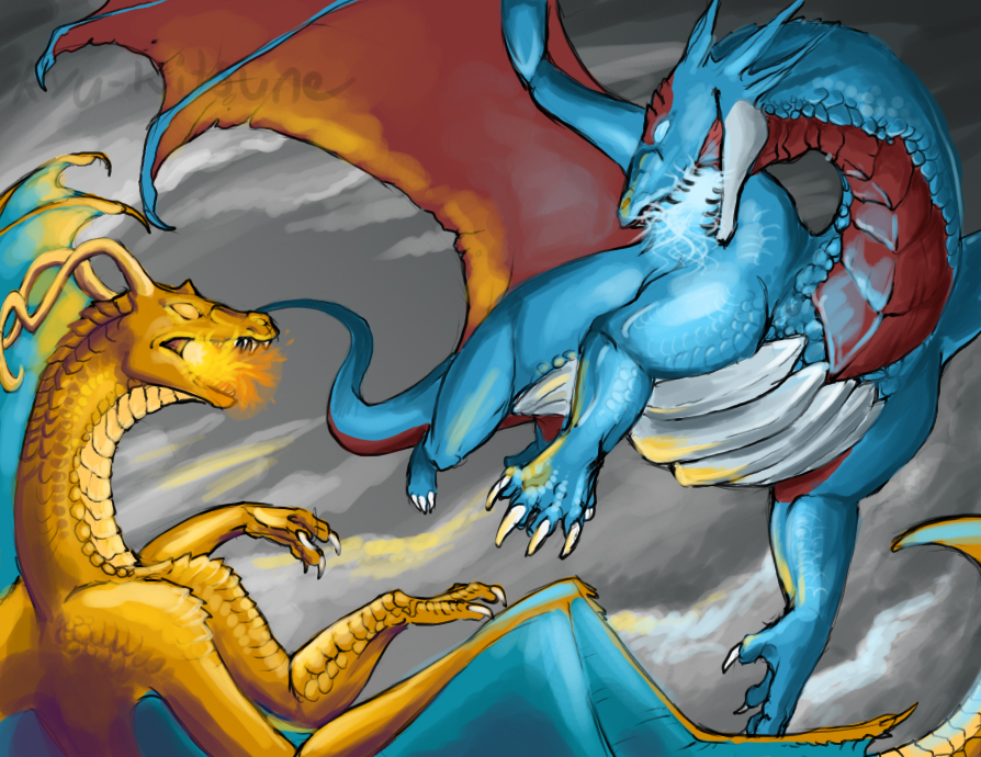 Dragonite vs Salamence by theCoffeeDragon on DeviantArt