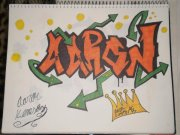 graffiti name  drawing (aaron) by kemsley