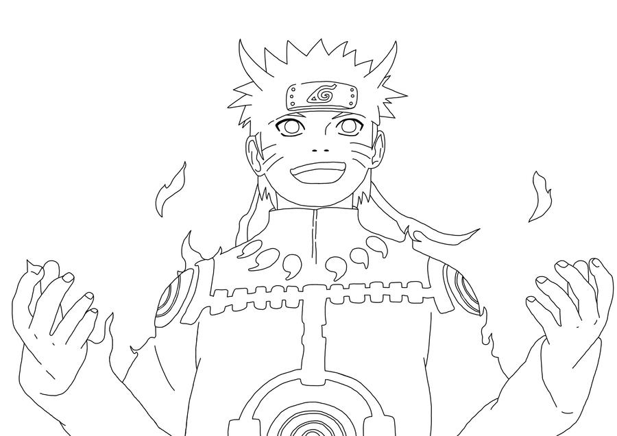 Naruto Kyubi-Chakra-Mode Lineart by TobeyD on DeviantArt