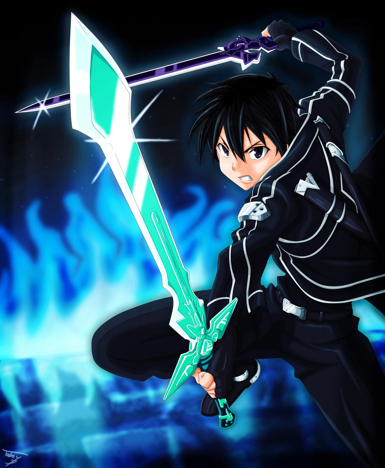 Anime Characters Use Dual Swords : Kirito dual blade by tobeyd on deviantart