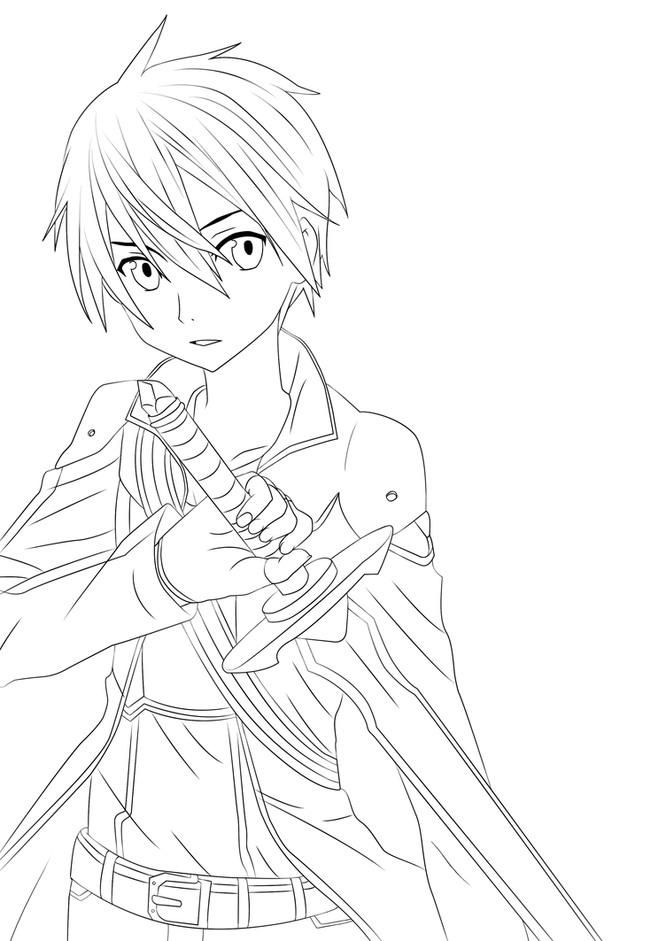 Kirito Lineart : Kirito lineart by tobeyd on deviantart
