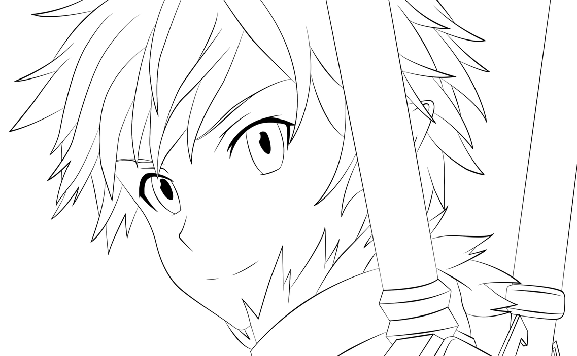 Kirito Alfheim-Online - Lineart by TobeyD