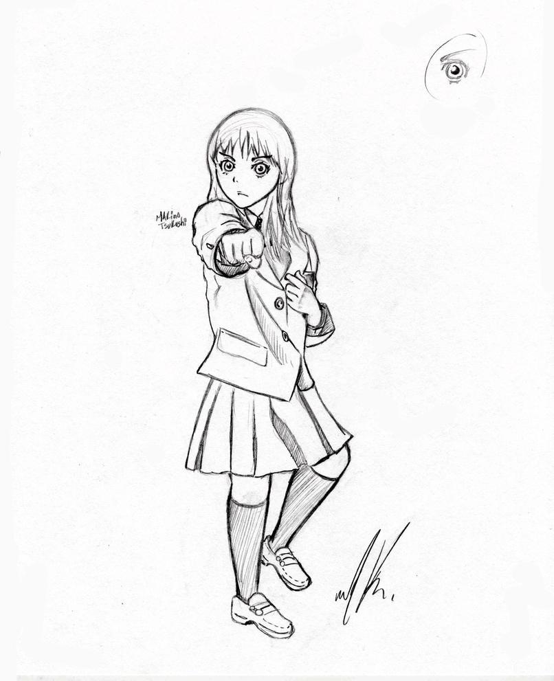 Makino Tsukushi (sketch) by AngryHero42