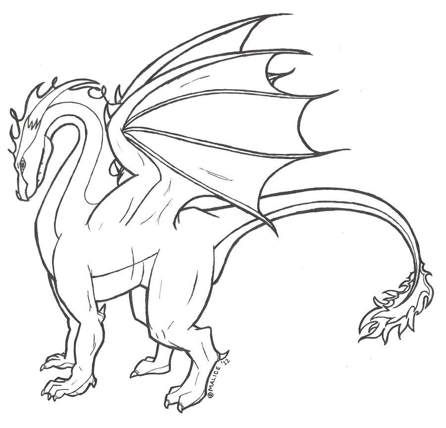 Simple Dragon Line Art : Dragon line art by maliciousmysteries on deviantart