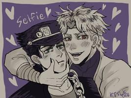 Lets take a selfie! Jotaro! by lokidominas