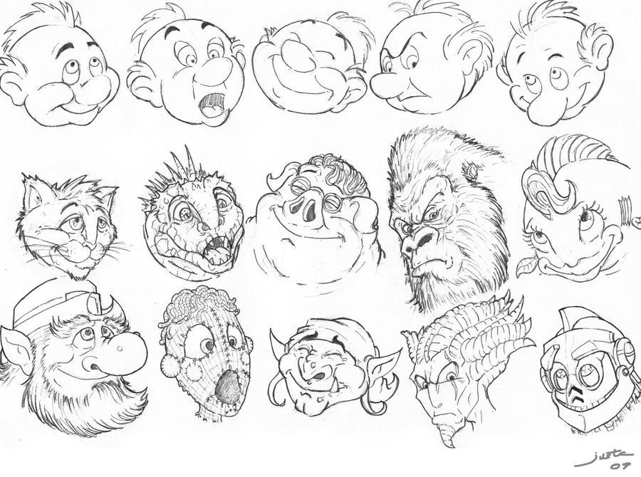 Cartoon faces excercice by ARTOFJUSTAMAN on DeviantArt