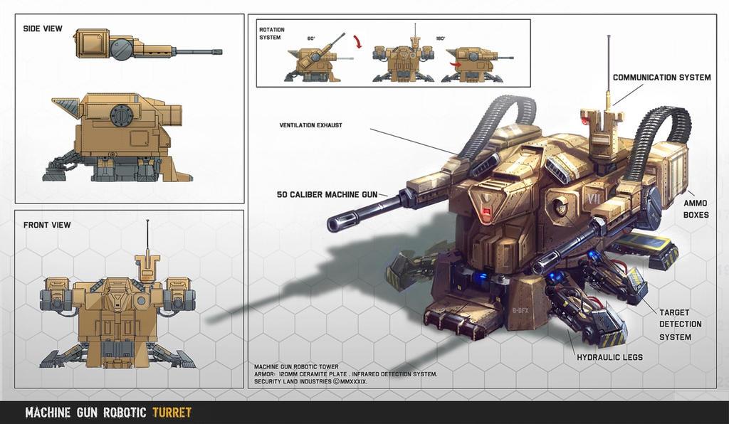 Machine Gun Robotic Turret by ARTOFJUSTAMAN