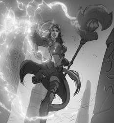 The Healer action sketch by ARTOFJUSTAMAN