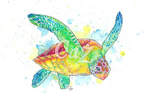 Green Turtle Watercolour Painting