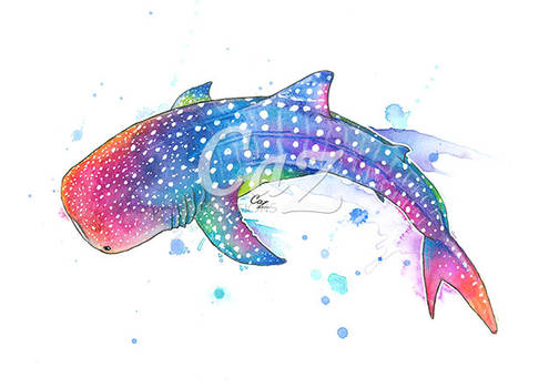 Rainbow Whale Shark Watercolor Painting