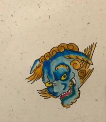 Blue Foo Dog by StartletSolarShine