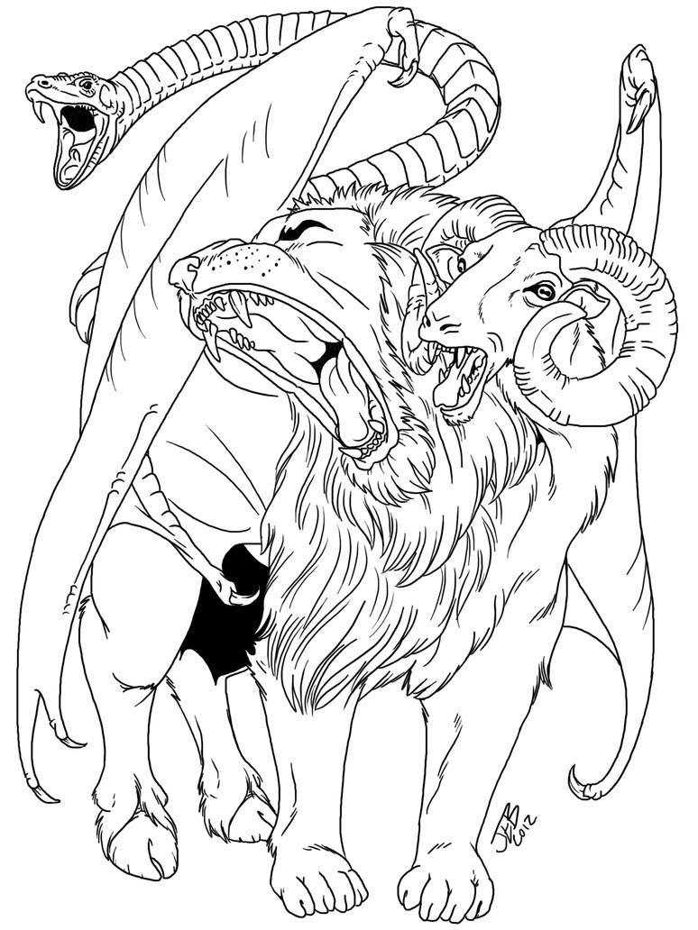 Chimera Greek Mythology Drawing Chimera Mythology Drawing