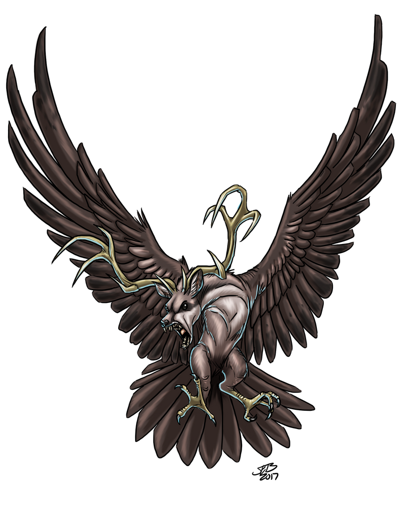 Peryton Flying by ProdigyDuck