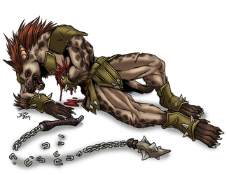Wounded Gnoll by ProdigyDuck