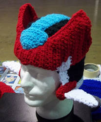 crochet Mega Man ZX hat by BunnieBard