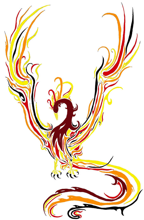 how to draw a fire phoenix