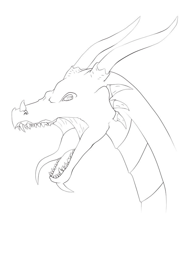 D Line Drawings Quest : Dragon head line art by daeoma on deviantart