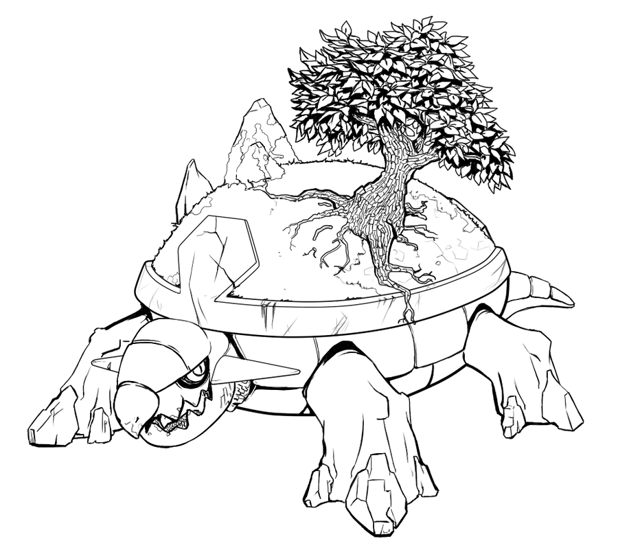 Torterra Lineart by earlgengar